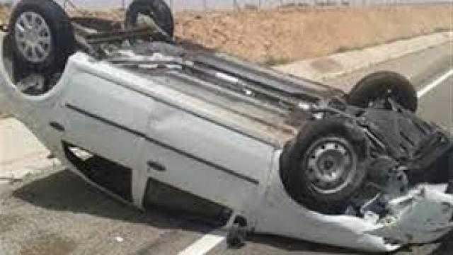 مصرع شخص وإصابة آخر في انقلاب سيارة بطريق طنطاالزراعي