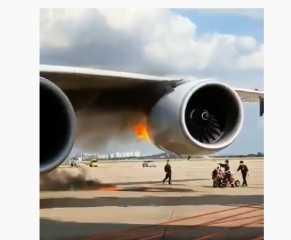 بالفيديو.. النيران تندلع في محرك طائرة متجهة من سيئول إلى لوس أنجلوس