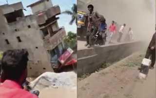 انهيار مبنى على المشاة في الهند..(فيديو)
