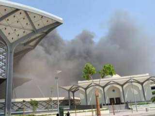بالفيديو.. حريق بساحة محطة قطار الحرمين بالسليمانية في السعودية