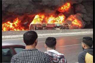 بالفيديو.. حريق هائل على الطريق الدائري