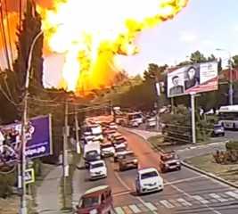 بالفيديو.. انفجار محطة وقود في مدينة فولغوغراد الروسية