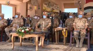 الفريق محمد فريد يشهد إجراءات تفتيش الحرب لإحدى وحدات المنطقة الجنوبية العسكرية