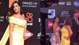 بالفيديو.. لقاء هند صبري وخطيبها السابق باسل خياط في مهرجان الجونة
